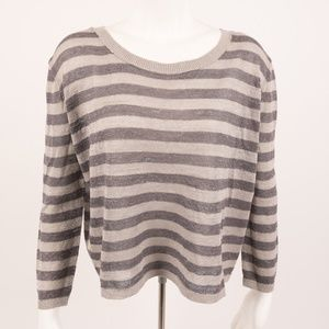 Chan Luu Women's Sweater Striped Shimmer Gray Med